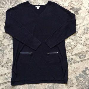 Black, tunic length V neck sweater. Size L. $15
